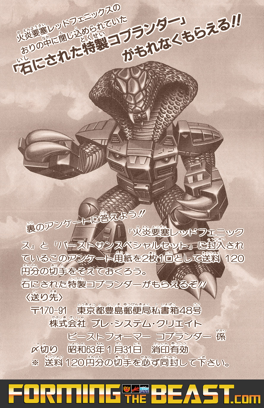 Scan of the Stone Cobra Mail-Away Questionnaire - Red Phoenix Version - Front