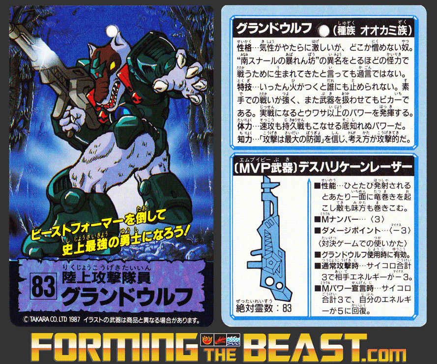 Scan of Laser Beast #83 Grand Wolf trading card.