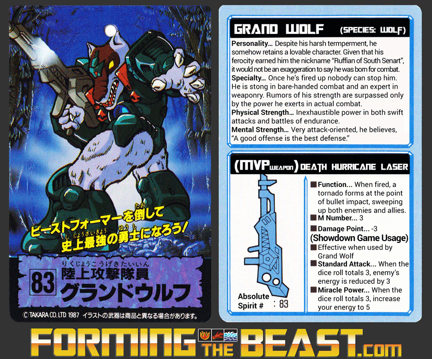 English Translation of Laser Beast #83 Grand Wolf trading card.